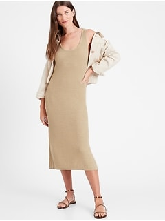 Linen-Blend Ribbed Sweater Dress