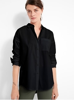 Petite Oversized Tech-Stretch Shirt