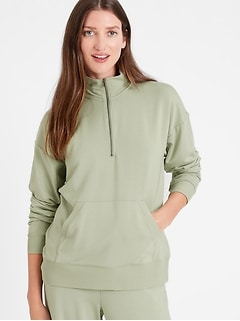 Petite Baby Terry Half-Zip Sweatshirt