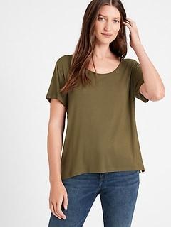 T-shirt à encolure dégagée Threadsoft, Petite