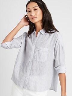 Petite Stripe High-Low Shirt