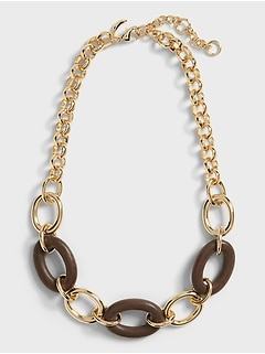 Mixed Metal & Wood Necklace