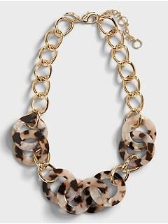 Resin & Metal Link Necklace