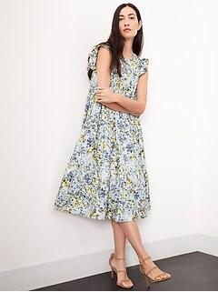Petite Poplin Tiered Dress