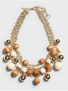 Wood Bead & Gold Statement Necklace