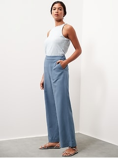 High-Rise Wide-Leg Pull-On Pant