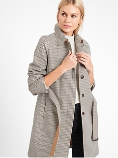 Plaid Cotton Rain Coat
