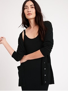 Chandail cardigan long en laine mérinos responsable