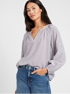 Petite Stripe Cotton-Linen Balloon-Sleeve Top