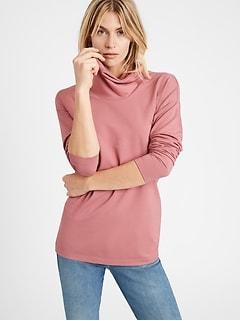 Petite Baby Terry Cowl Neck Sweatshirt