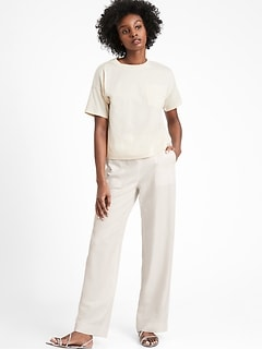 Petite High-Rise Wide-Leg Pull-On Pant
