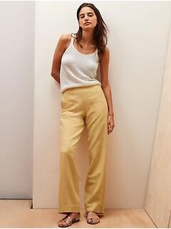 Pantalon à taille élastique haute et à jambe large, Petite