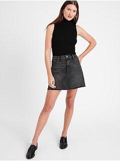 Petite Denim Mini Skirt with Raw Hem