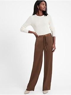 Wide-Leg Satin Pull-On Pant