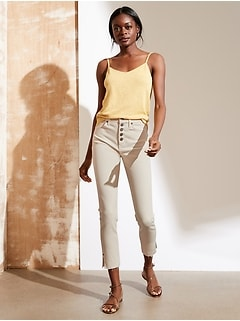 High-Rise Skinny Button-Fly Jean with Slit Hem