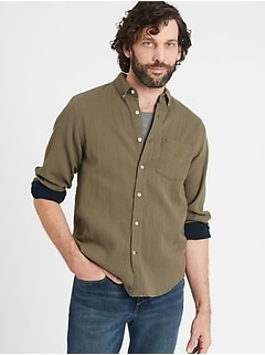 Untucked Slim-Fit Double-Weave Shirt