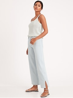 High-Rise Wide-Leg Cropped Jean with Split Hem
