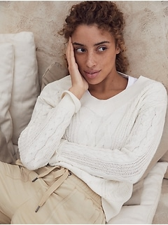 Cotton-Hemp Cable-Knit Sweater