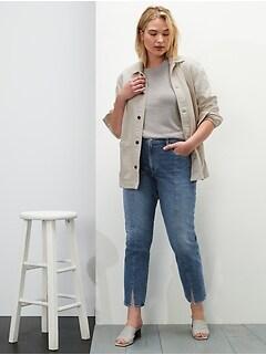 High-Rise Straight Jean with Split Hem