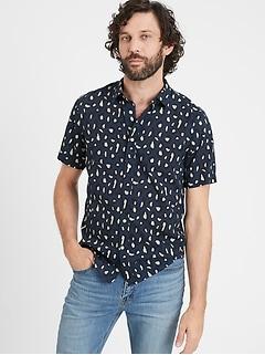 Chemise en coton, coupe ajustée, à porter à l'extérieur du pantalon