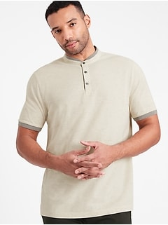 Core Temp Pique Banded-Collar Polo