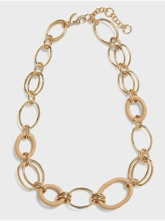 Wood & Metal Link Necklace
