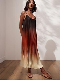 Petite Satin Pleated Midi Dress