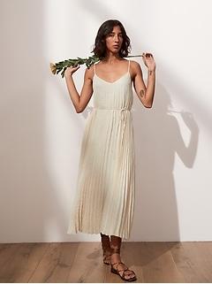 Petite Pleated Midi Dress