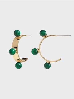 Malachite & Crystal Hoop Earrings