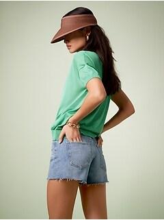 Short en jean à taille basse moyenne, 10cm