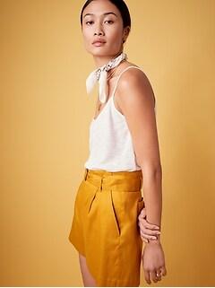 Short à taille haute et à plis en lin et en coton de 10cm