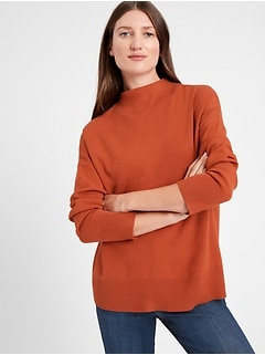Petite Relaxed Mock-Neck Sweater
