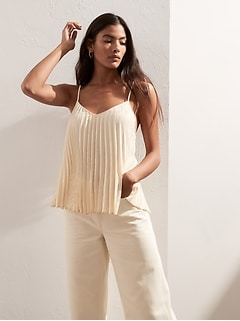 Jacquard Pleated Camisole Top
