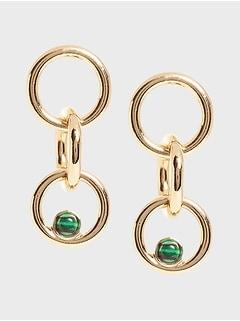 Malachite Detail Link Earrings