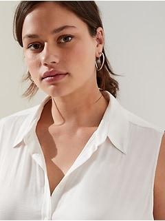 Petite Sleeveless Button-Down Shirt
