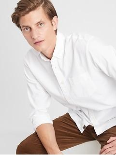 Chemise en sergé de coton, coupe standard, se porte à l'extérieur du pantalon