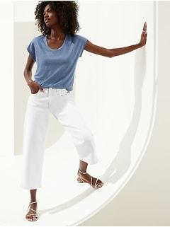 Linen Scoop-Neck T-Shirt