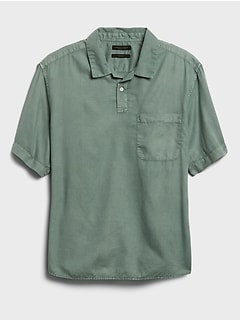 Relaxed-Fit Organic Johnny-Collar Shirt