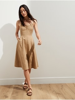 Linen-Cotton Midi Dress