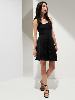 Pleated Poplin Mini Skirt