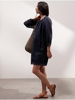 Petite Ramie Balloon-Sleeve Dress
