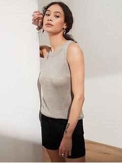 Shimmer Linen-Blend Sweater Tank