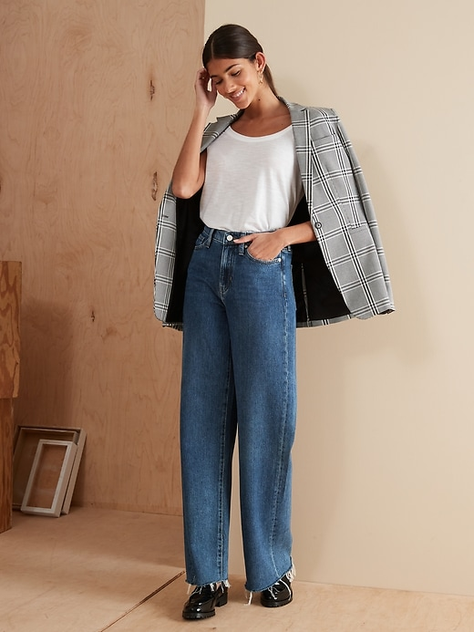 High-Rise Wide-Leg Jean with Raw Hem