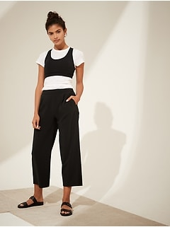Petite Flyweight Wide-Leg Cropped Pant with Core Temp