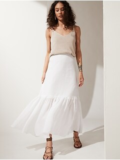 Ramie Tiered Maxi Skirt