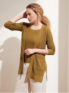 Hemp-Cotton Long Cardigan Sweater