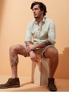 Chemise en coton et en lin, coupe ajustée, à porter à l'extérieur du pantalon