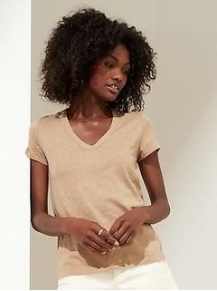 T-shirt à col en V en coton et modal à fil flammé, coupe étroite, Petite