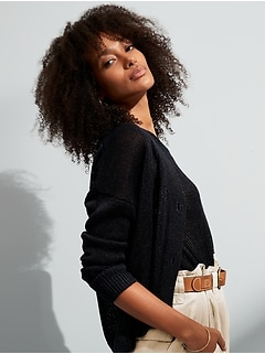Shimmer Linen-Blend Cardigan Sweater