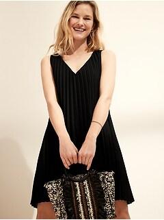 Pleated Poplin Mini Dress